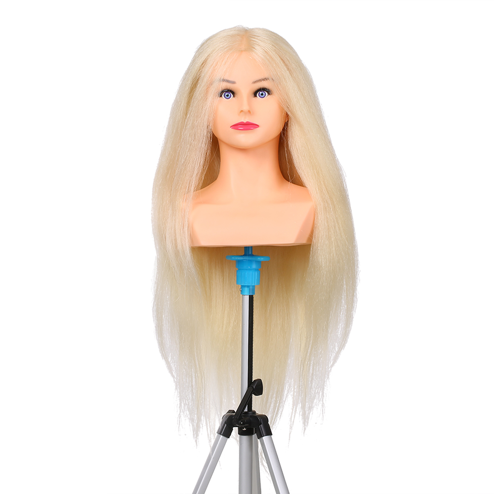 Training Mannequin Heads 100% Human Hair For Braiding Manikin Head For Hairdresser Pro Training Head Cosmetology Dummy Head