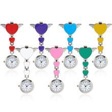 Модные женские кварцевые часы с сердечками Cl-ip-On Fob, Висячие карманные часы для медсестры, новые женские медицинские часы