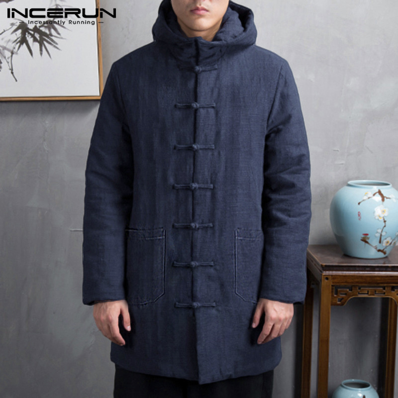 INCERUN Cotton Men Parkas Winter Long Sleeve Button Up Trench 2020 Hooded Chinese Style Padded Outerwear Vintage Jackets Coats 7