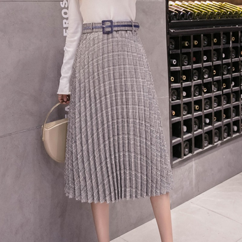DeRuiLaDy Women Skirts 2019 New Fall Fashion Plaid Skirt Gray Womens Simple Leisure Pleated Skirt Belt Elastichigh Waist Skirt