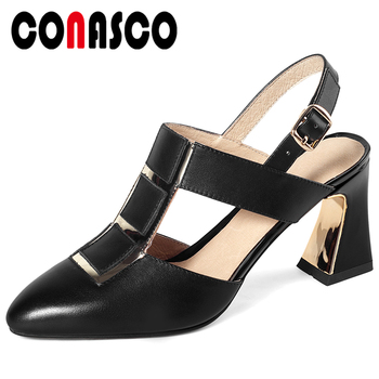 CONASCO Women Sandals Genuine Leather Pumps Summer 2020 High Heels Fashion T-Strap Metal Decoration Office Casual Shoes Woman