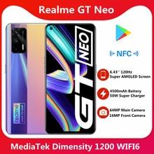 Oryginalny Realme GT Neo 5G inteligentny telefon MTK Dimensity 1200 6.43 ''Super AMOLED ekran 4500mAh 50W Super ładowanie 120Hz 64MP aparat