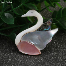 Original handmade natural abalone shell / Simple series women pink swan brooch