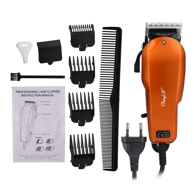 Ckeyin 220 240V Household Trimmer Professional Classic Haircut Corded Clipper for Men Cutting Machine with 4 Attachment Combs 40