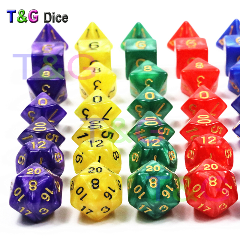 Dice Polyhedral Games 7 pcs of Poker Dice Set with Effect Nebula 3 Colors-Newly