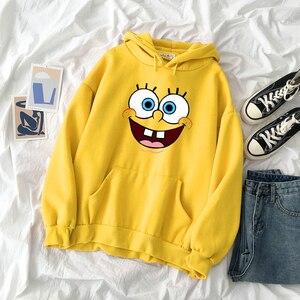 New Fashion Womens Cartoons SquarePants Printing Hoodies Sweatshirts Unisex Cool Hooded Streetwear Hoody