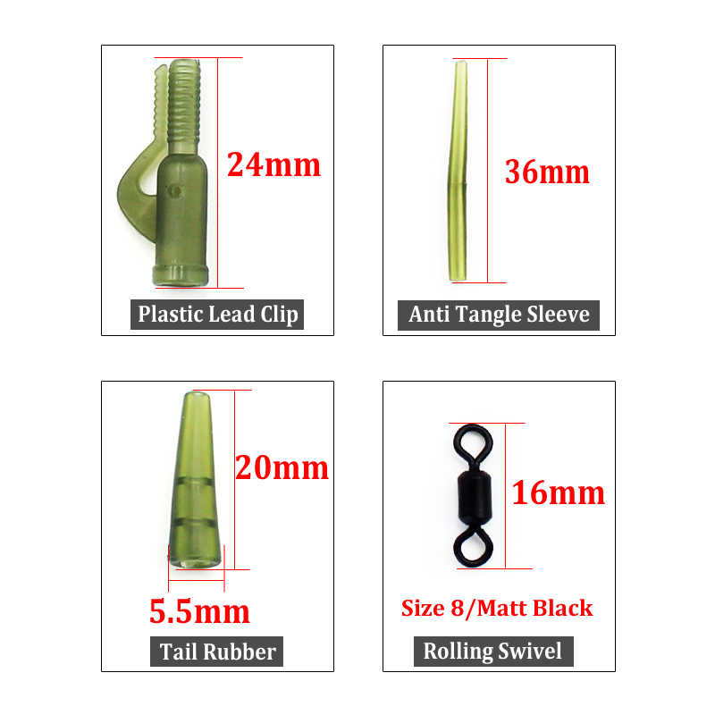 35mm Anti Tangle Sleeves Hair Rigs Carp Fishing Tackle Size 8 ROLLING swivels