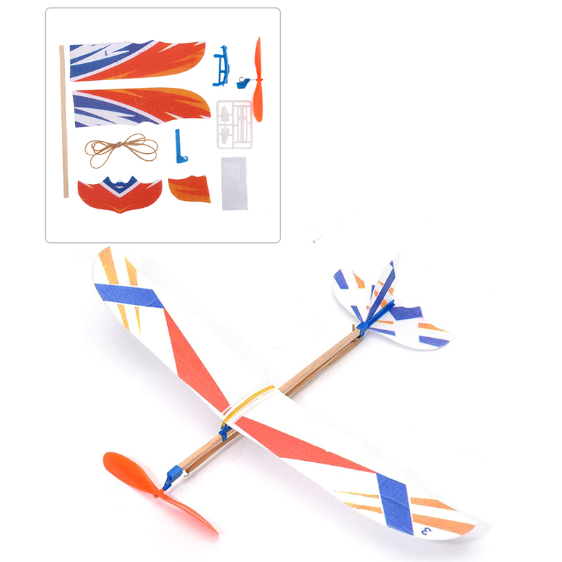 Eco-friendly DIY Kids Toys Rubber Band Powered Aircraft Model Kits Toys for Children Foam Plastic Assembly Planes Model image