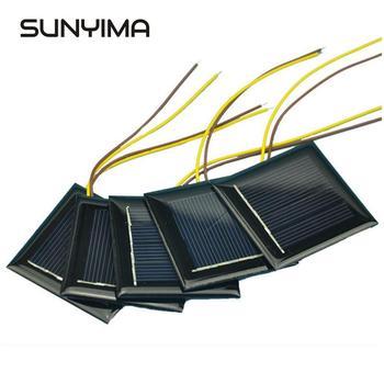 SUNYIMA 10 sztuk 2V 100mA polikrystaliczny Panel słoneczny z 15cm przedłużyć drut 54*54mm Mini ogniwo słoneczne DIY Power Bank moduł ładowania baterii tanie i dobre opinie CN (pochodzenie) Polycrystalline Silicon Solar Panel Krzem polikrystaliczny Battery charger
