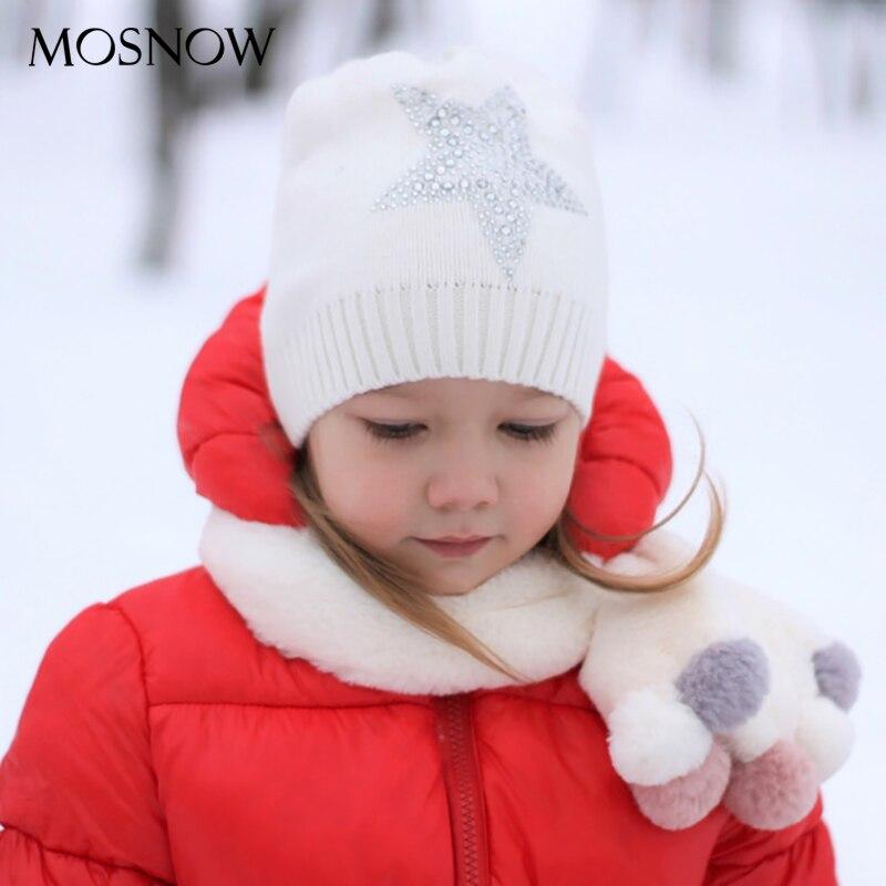 Winter Hats Rhinestone Beanie Pentagram Unisex-Cap Knit Wool Warm Girls Boys Kids Children