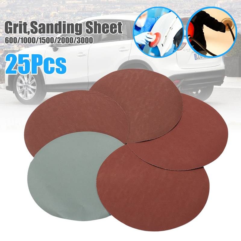 25pcs 150mm/6 Inch 600/1000/1500/2000/3000 Grit Sanding Sheet Discs Ho And Loop Round Shape Sandpaper Mixed Polishing /Clean