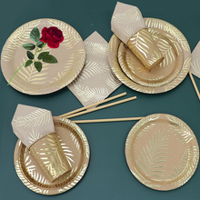Disposable Kraft Paper Tableware Set Golden Colored Palm Leaf Pattern Plate Cup Paper Towel Straw Party Wedding Birthday Cutlery
