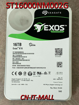 "Seagate Exos X16 ST16000NM002G 16TB 7200 RPM 256MB Cache SAS 12Gb/s 512e/4Kn 3.5"" Internal Hard Drive"