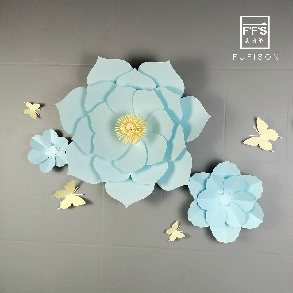 NO.17 FFS 50CM 2pcs  Paper flowers  Winter wonderland  Backdrops decoration  Wedding   3D Flower Wall Stickers