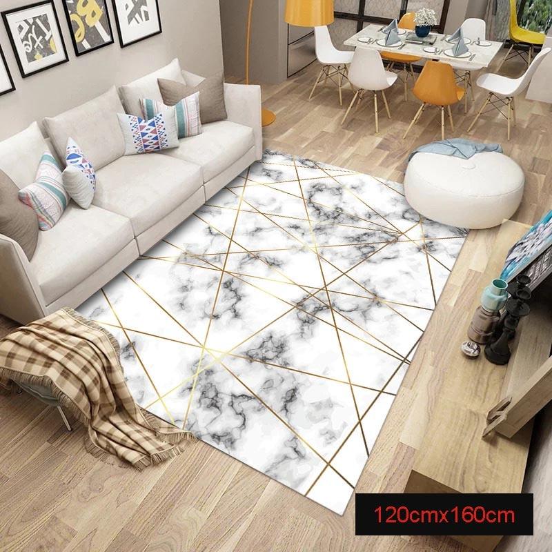 Tapis marbre doré lignes géométriques marbrure décor à la maison tapis de sol tapis FP8