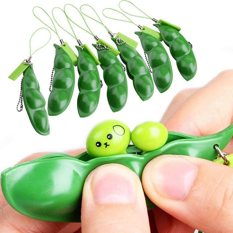 Infinite Squeeze Edamame Toys Peas Beans Keychain Pop It Fidget Squishy