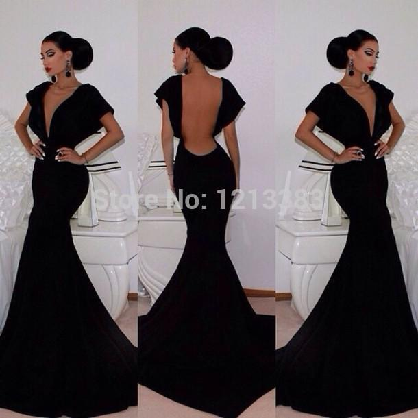 Robe De Soiree New Backless Sexy Hot Cap Short Sleeves Formal Party Gown Mermaid Balck Custom Evening Mother Of The Bride Dress