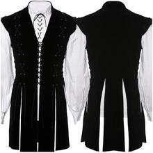 Готический Средневековый Ренессанс Взрослый мужской рыцарский костюм одежда рубашка жилет