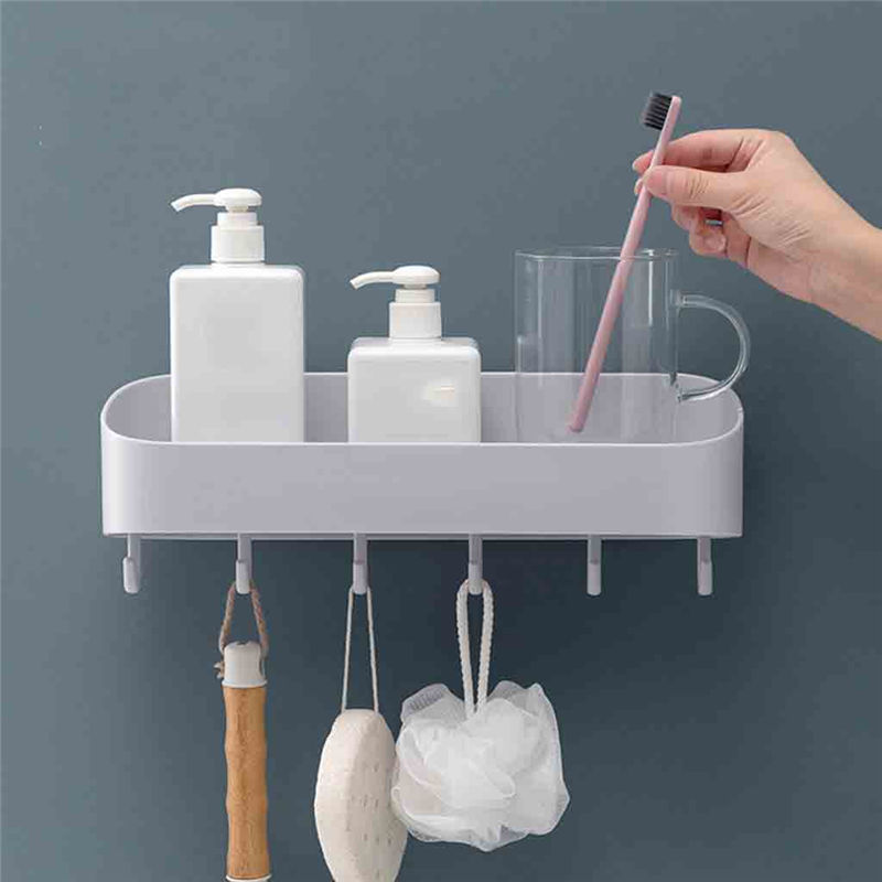 Bathroom with hook racks bathroom vanity toilet wall hanging storage rack free punch bathroom towel rack Utility Hook #3J29