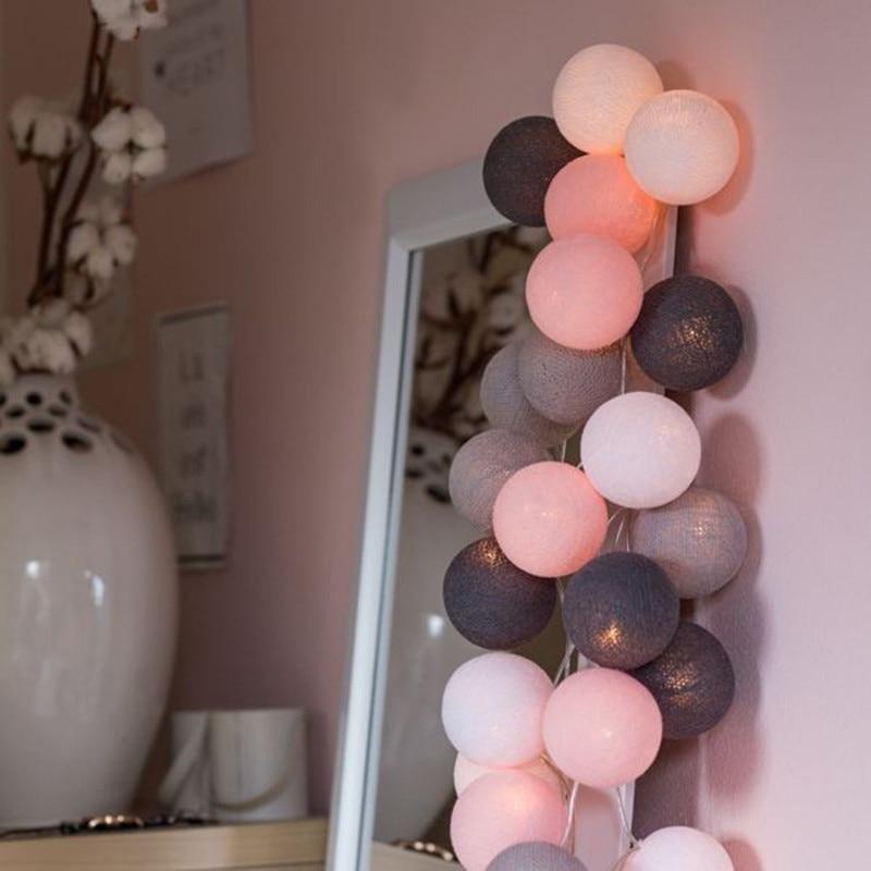 String Lights Cotton Balls Garland Beads LED Strips Kids Bedroom Decor Wedding Curtain Garden Halloween Christmas  Decoration