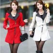 Женское шерстяное пальто xuxi повседневное на молнии с длинным