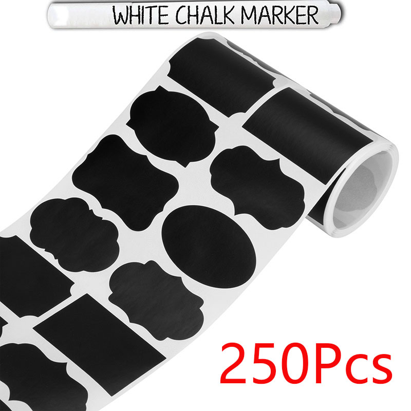 250Pcs 8 Style Round Blank Chalkboard Labels Sticker -Erasable Chalk Pen- Removable Waterproof Label For Mason Jar Labels
