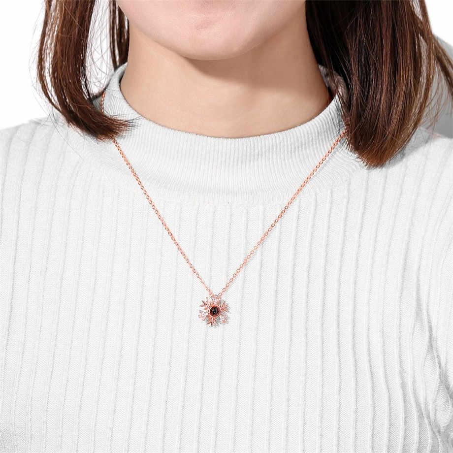 100 língua eu te amo colar de projeção pingente para mulher rosa ouro & prata cor floco de neve colar amante romântico judeu