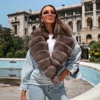 FURSARCAR Hohe Qualität Echt Pelz Mäntel Winter Frau Mäntel 2021 Neue Mode Warm Fox Pelz Kragen Jean Splice Jacke Weibliche mantel
