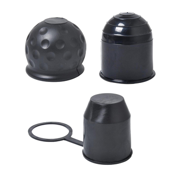 Tapa de enganche de plástico negro + Goma, 50mm, para coche, furgoneta, remolque, 3 piezas
