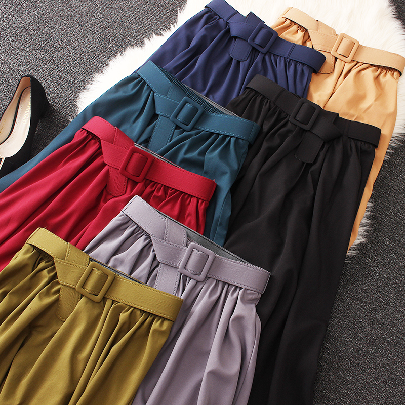 Elegant Summer Women Skirt With Belt 2020 Summer Classic A Word Skirt Thin Solid Color Skirt High Waist Retro Loose Midi Skirt