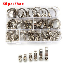 60pcs Pipe Clamps Genuine Jubilee Stainless Steel Hose Clips Fuel Hose Pipe Clamps Worm Drive Durable Anti-oxidation 8-12mm 60pcs adjustable 8 38mm range stainless steel fuel line pipe worm gear drive hose hoop pipes clamps assortment kit spring clip