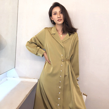 ladies satin shirt dress runway designer 2019 spring summer high quality OL Office vintage loose Midi dresses 3 ways to wear