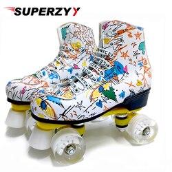 Роликовые коньки из микрофибры, двухрядные, 4 колеса, искусственная кожа, обувь для катания на коньках, раздвижные Встроенные коньки, детски...