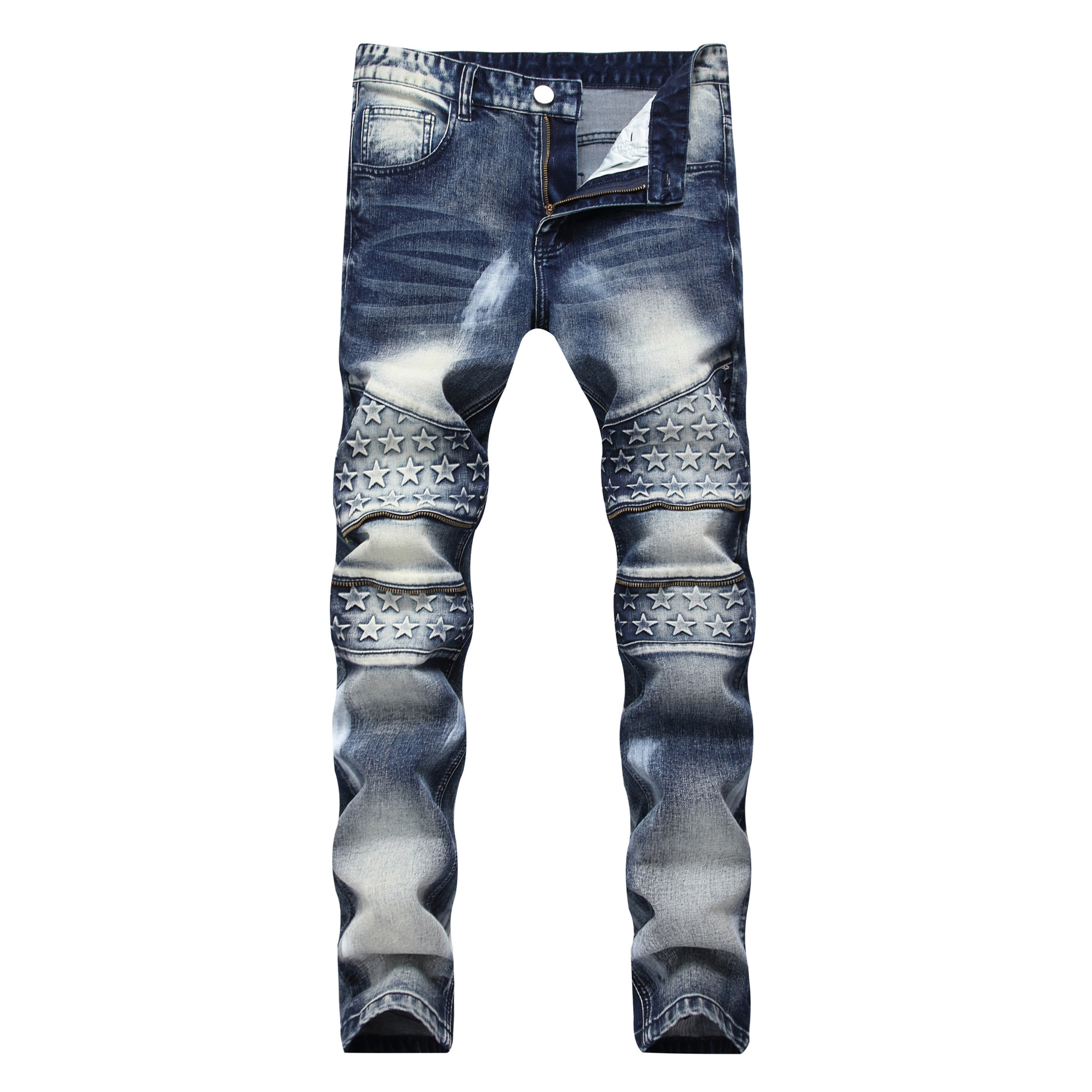 Europe And America MEN'S Jeans Retro Zipper Decorations Elasticity Straight Slim Ink Large Size Trousers