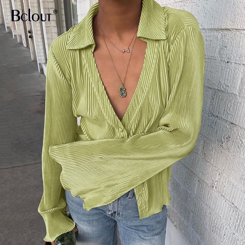 Bclout Green Vintage Flare Sleeve Blouse Shirt Spring Casual Single Breasted Women...