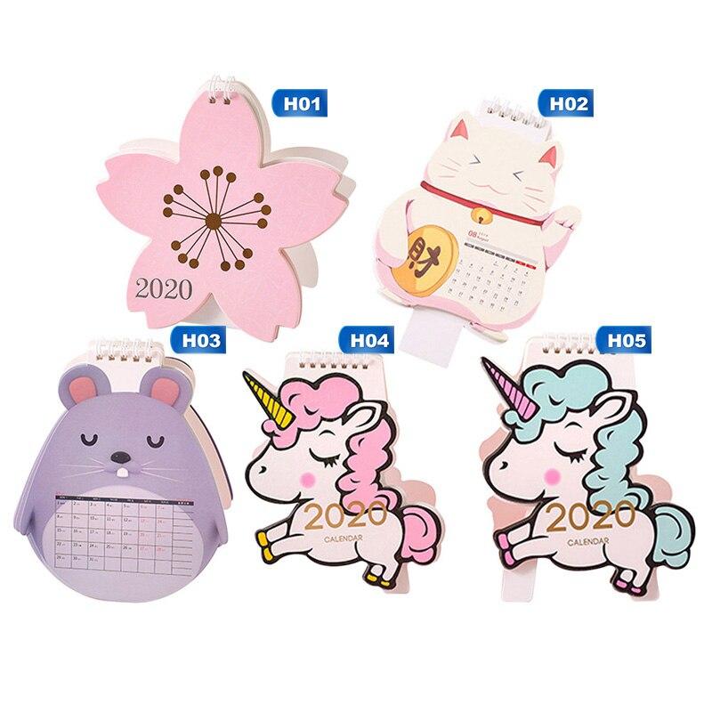 2020 Cute Cartoon Animal Mini Desk Calendar Decoration Cute Girl Creative Desktop Calendar Planer Kawaii Agenda Table Calendar