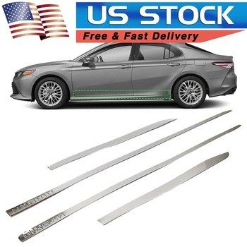 США в наличии, накладка боковой линии для кузова автомобиля, внешняя формовочная Накладка для Toyota Camry, серебро 2018, нержавеющая сталь, 4 шт.
