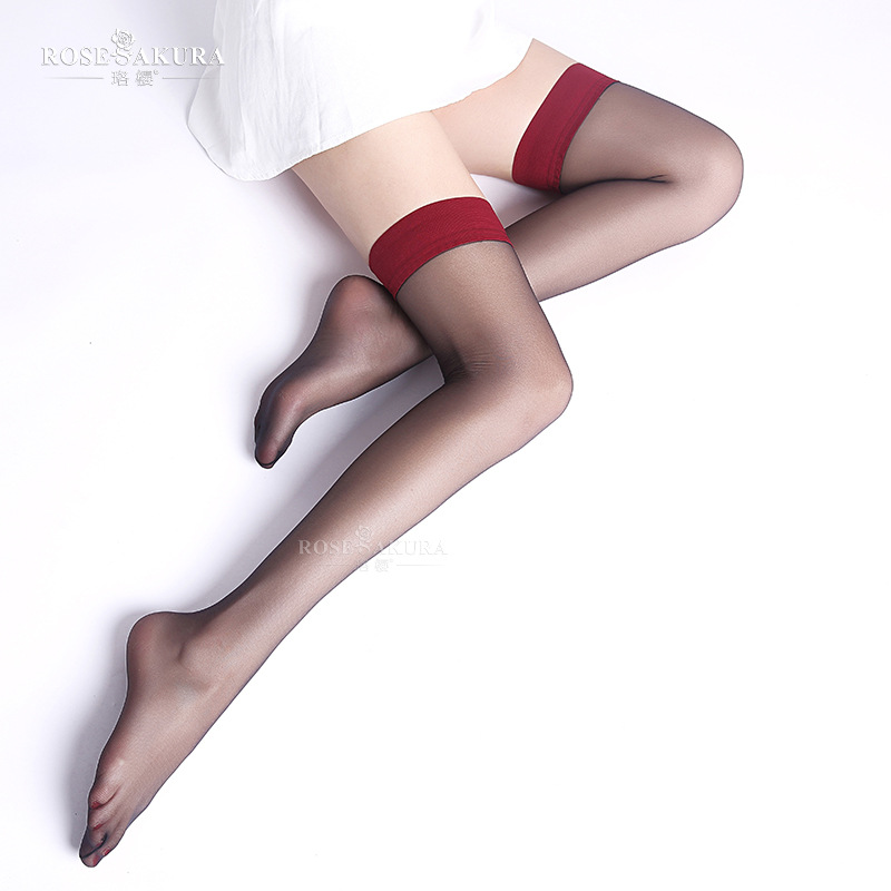 1D Women Contrast Ultra Thin Thigh High Nylon Stockings Sexy Silicone Stay Up Long Stocking Female Sex Knee High Socks 0917