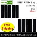UHF RFID Анти-металлическая бирка 915 м 868 м 50 шт. Бесплатная доставка управление фиксированными активами 53*13*2 8 мм прямоугольная печатная плата П...