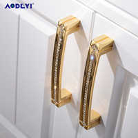 24K Gold Chrome Crystal Drawer Cabinet Knobs Handle Diamond Sliver Wine Wardrobe Decotation Furniture Knobs Dresser Pull Handles