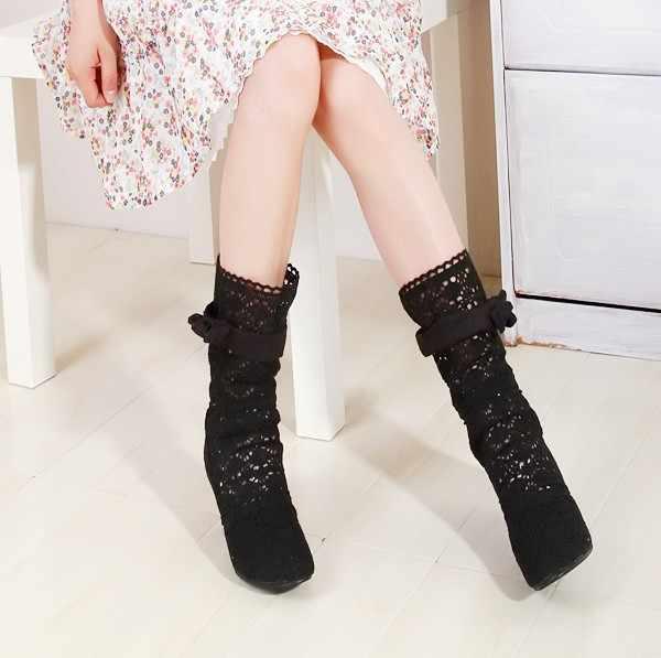 Thời Trang Thu Rỗng Giày Thoáng Khí Đan Dây Lưới Cao Cấp Hàn Quốc Mùa Hè Giày Bốt Nữ Đầu Gối Cao Cấp Nữ