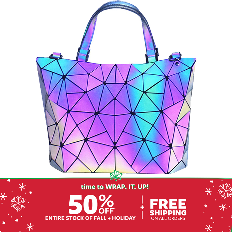 TangDe Geometric Purse Holographic Purse And Handbag Color Changes Luminous Purse For Women Bolso Mujer