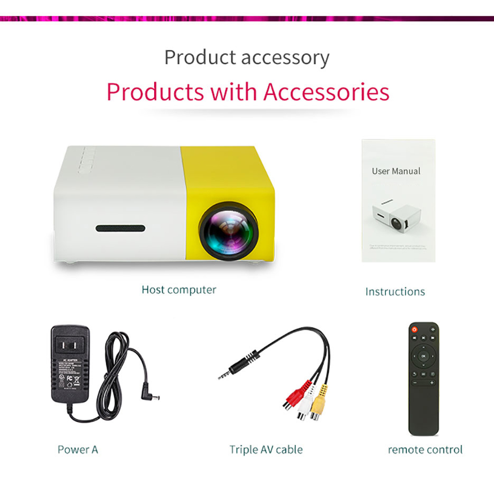 Lejiada yg300 pro led mini projetor 480x272 pixels suporta 1080p hdmi usb de áudio portátil projetor casa media player vídeo-5