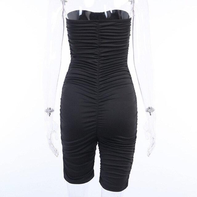 Forefair Black Sports Jumpsuit Women Sexy Strapless Ruched Slim Bodycon One Piece Bodysuit 2020 Summer Women Rompers 8