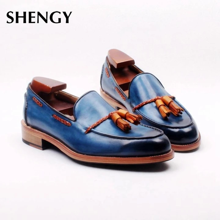 2020 Men PU Leather Shoes Low Heel Fringe Shoes Dress Shoes Brogue Shoes Spring Ankle Boots Vintage Classic Male Casual