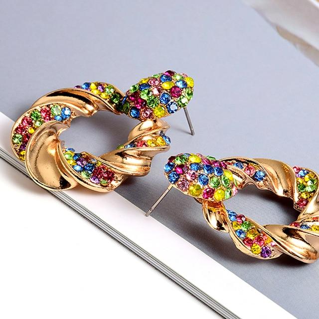 Gold Metal Rhinestone Crystal Drop Earrings  4
