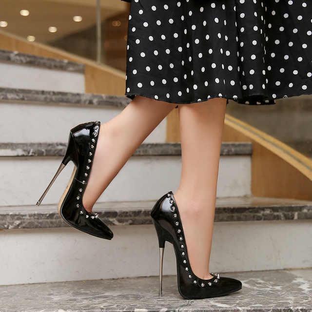 Nuevos zapatos clásicos elegantes para mujeres solteras tacones súper altos  16cm bombas zapatos charol punta fina tacones dama boda Zapatos de tacón de  mujer  - AliExpress