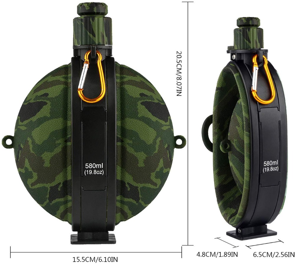 Collapsible Military Water Bottle Hiking Accessories Silicone Water Kettle Canteen with Compass Bottle Cap for Tourism Camping (6)