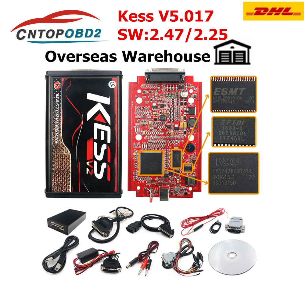 DHL FREIES KESS V2 V2.47 V5.017 EU Rot ECM Titan LED Online Master Version BDM Rahmen ECU Chip Tuning OBD2 auto/lkw Programmierer