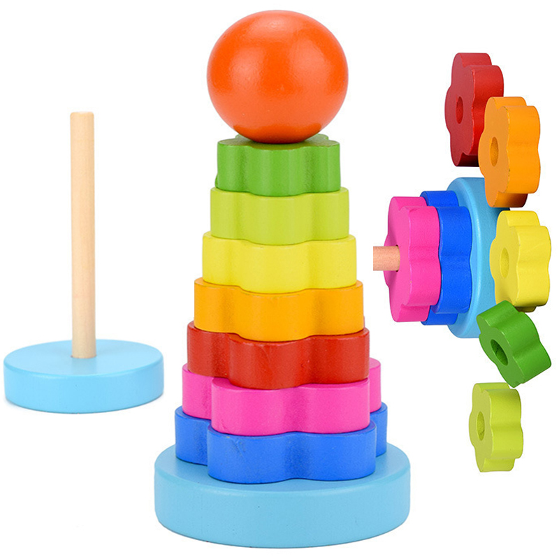 Kids Baby Wooden Blocks Toys Rainbow Stacking Ring Tower Blocks Montessori Learning Educational Toys For Children Gifts